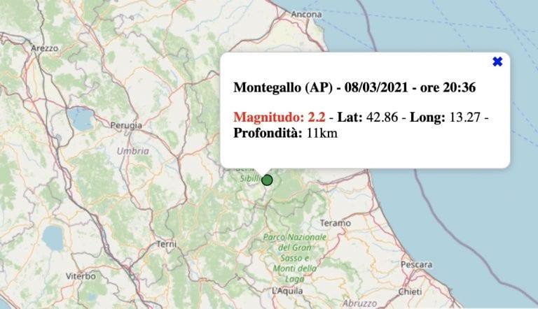Terremoto nelle Marche oggi, lunedì 8 marzo 2021: scossa M 2.2 in provincia di Ascoli Piceno   Dati INGV