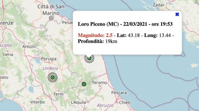 Terremoto nelle Marche oggi, lunedì 22 marzo 2021: scossa M 2.5 in provincia di Macerata   Dati INGV