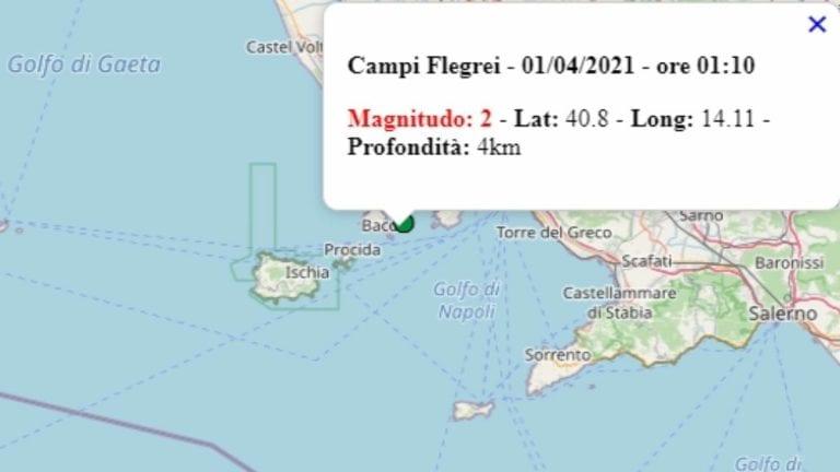 Terremoto in Campania oggi, 1 aprile 2021, scossa M 2.0 in provincia di Napoli – Dati Ingv