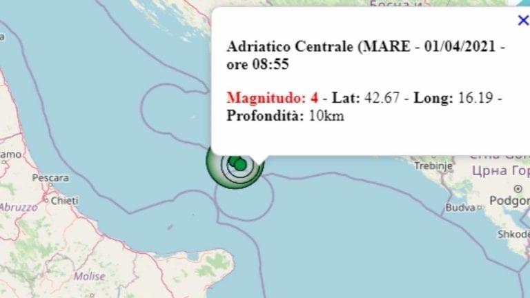 Terremoto in Puglia oggi, 1 aprile 2021: nuova scossa intensa nel mar Adriatico centrale | Dati Ingv