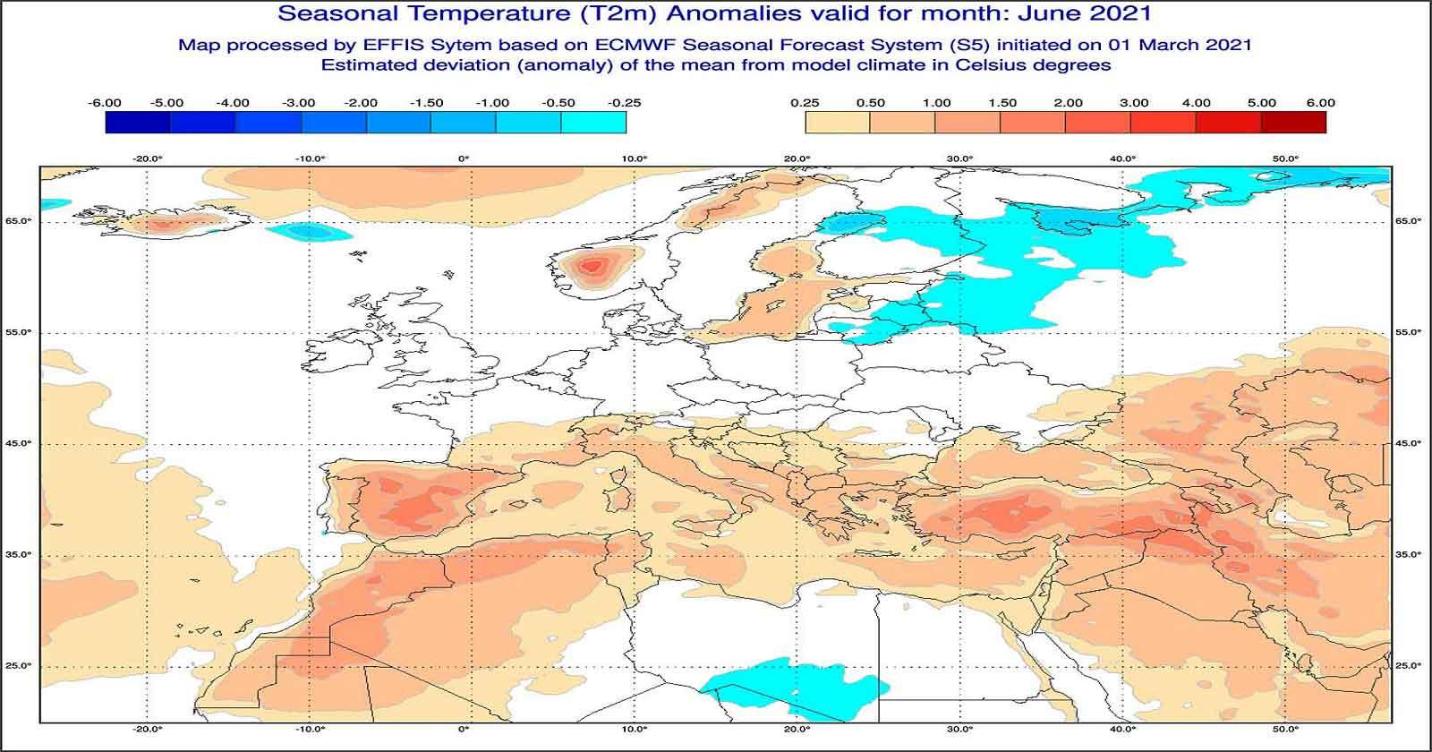 Anomalie di temperatura previste dal modello ECMWF per giugno 2021 - effis.jrc.ec.europa.eu