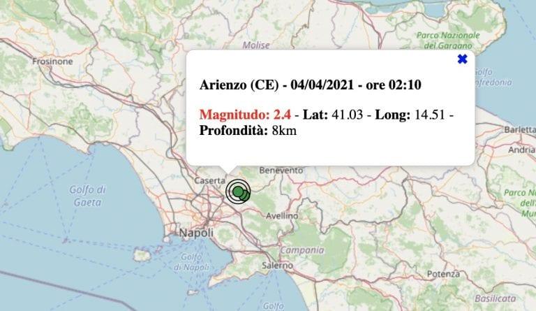 Terremoto in Campania oggi, domenica 4 aprile 2021: scossa M 2.4 in provincia di Caserta. Dati INGV