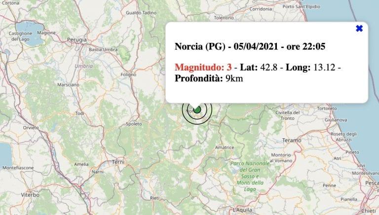 Terremoto in Umbria oggi, lunedì 5 aprile 2021: scossa M 3.0 in provincia di Perugia | Dati INGV