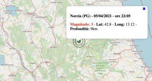Terremoto in Umbria oggi, lunedì 5 aprile 2021: scossa M 3.0 in provincia di Perugia   Dati INGV