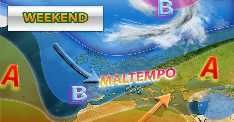 METEO WEEKEND – Rimonta dell'anticiclone in arrivo. PERTURBAZIONE atlantica nel WEEKEND, con PIOGGE anche intense al centro-nord
