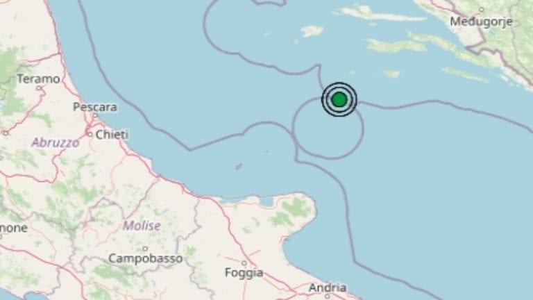 Terremoto in Puglia oggi, giovedì 8 aprile 2021: scossa di M 3.1 sul mar Adriatico   Dati Ingv