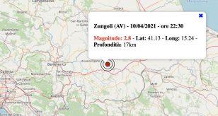 Terremoto in Campania oggi, sabato 10 aprile 2021: scossa M 2.8 in provincia di Avellino | Dati INGV