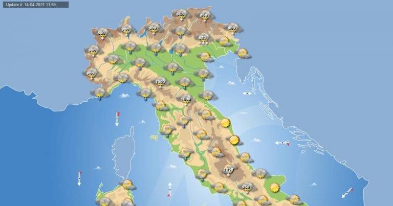 PREVISIONI METEO domani 15 aprile 2021: instabilità sparsa sull'ITALIA con piogge e nevicate