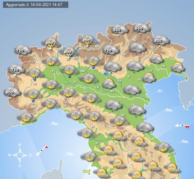 Nevicate previste sull'arco Alpino al mattino del 15 aprile - Centro Meteo Italiano