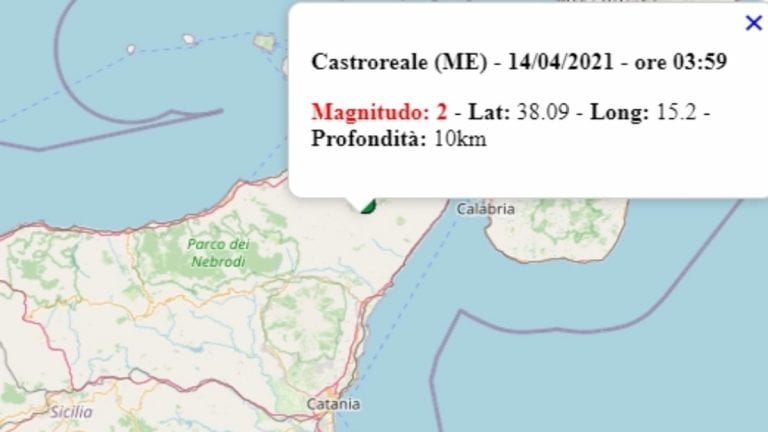 Terremoto in Sicilia oggi, mercoledì 14 aprile 2021, scossa M 2.0 in provincia di Messina | Dati Ingv