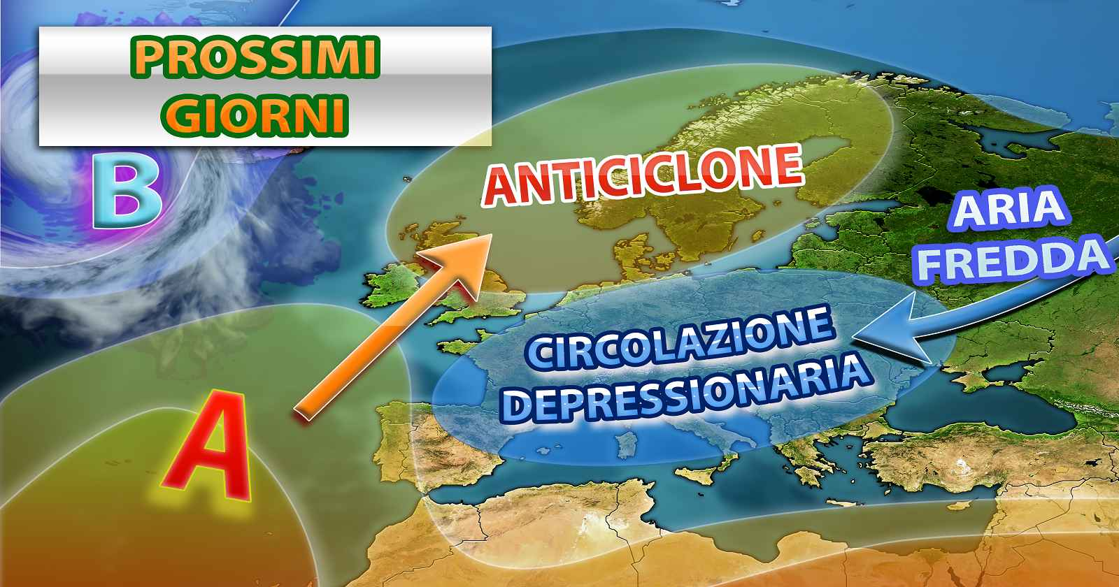 Ancora maltempo e temperature sotto la media nei prossimi giorni - grafica a cura del Centro Meteo Italiano