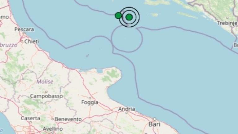 Terremoto in Puglia oggi, 16 aprile 2021, scossa M 2.7 sul mar Adriatico | Dati Ingv