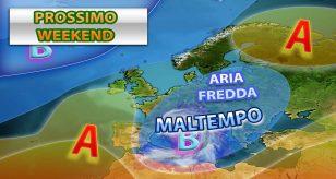 METEO - VORTICE DEPRESSIONARIO nel WEEKEND: ITALIA ancora condizionata dal MALTEMPO, i dettagli