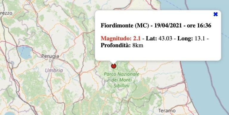 Terremoto nelle Marche oggi, lunedì 19 aprile 2021: scossa M 2.1 in provincia di Macerata   Dati INGV