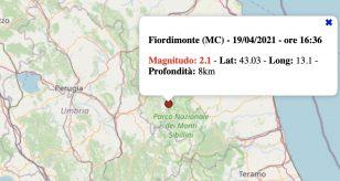 Terremoto nelle Marche oggi, lunedì 19 aprile 2021: scossa M 2.1 in provincia di Macerata