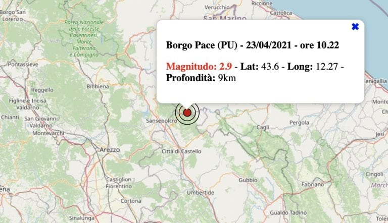 Terremoto nelle Marche oggi, venerdì 23 aprile 2021: scossa M 2.9 in provincia di Pesaro-Urbino   Dati INGV