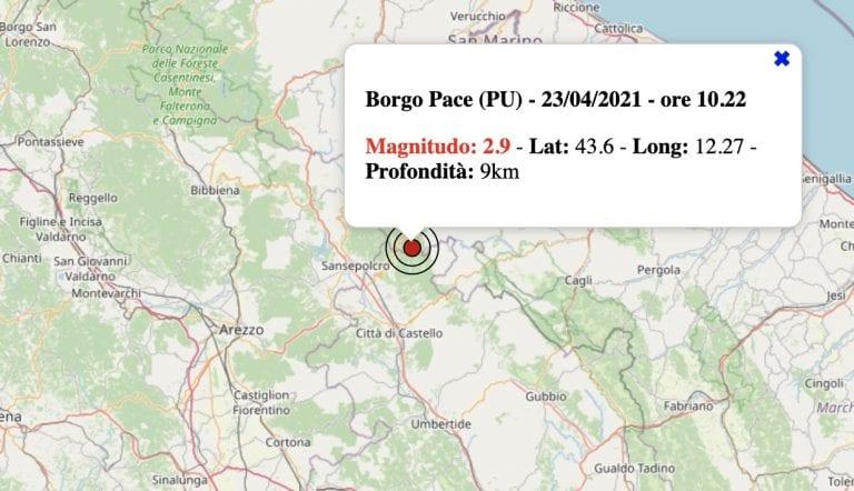 Terremoto nelle Marche oggi, venerdì 23 aprile 2021: scossa M 2.9 in provincia di Pesaro-Urbino | Dati INGV