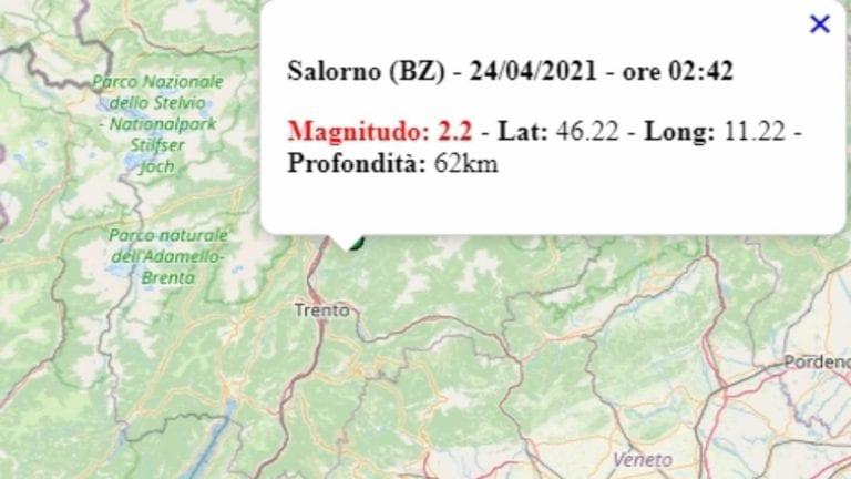 Terremoto in Trentino-Alto Adige oggi, sabato 24 aprile 2021: scossa M 2.2 in provincia di Bolzano | Dati INGV