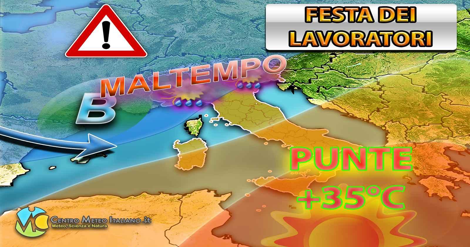 Il weekend della Festa dei Lavoratori sarà caratterizzato da caldo al sud e maltempo al nord
