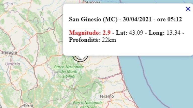 Terremoto avvertito intensamente oggi, 30 aprile 2021 nelle Marche: scossa M 2.9 avvertita in provincia di Macerata – Dati Ingv