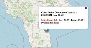 Terremoto in Calabria oggi, domenica 2 maggio 2021: scossa M 2.3 Costa Ionica Cosentina | Dati INGV