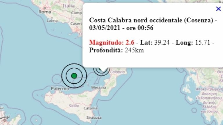 Terremoto in Calabria oggi, 3 maggio 2021: scossa M 2.6 in provincia Cosenza   Dati INGV