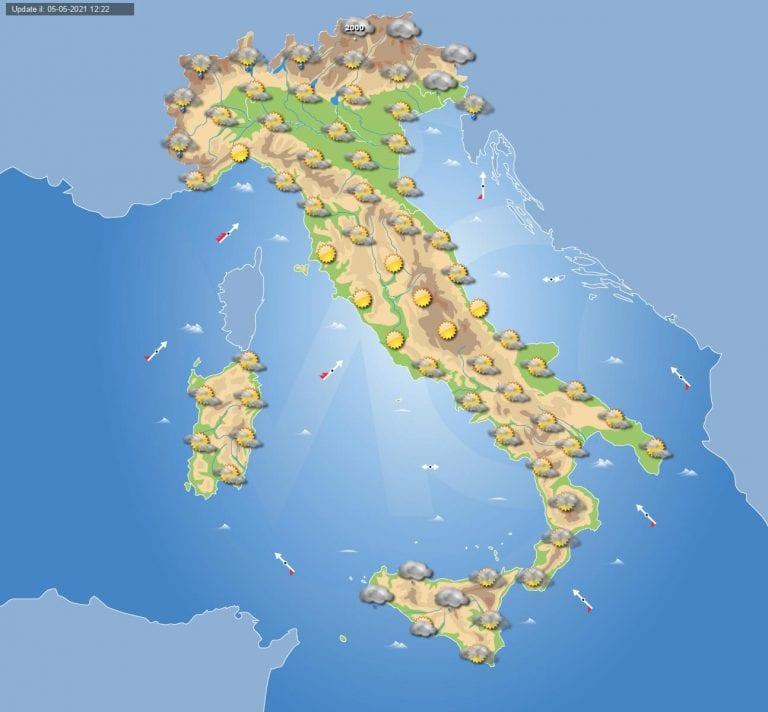 PREVISIONI METEO domani 6 maggio 2021: tempo in miglioramento in Italia ma ancora qualche pioggia sparsa