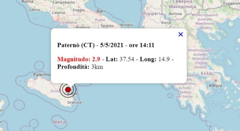 Terremoto oggi Sicilia, 5 maggio 2021: scossa M 2.9 in provincia di Catania   Dati INGV