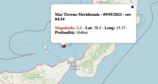 Terremoto oggi, domenica 9 maggio 2021: scossa M 2.1 Mar Tirreno Meridionale