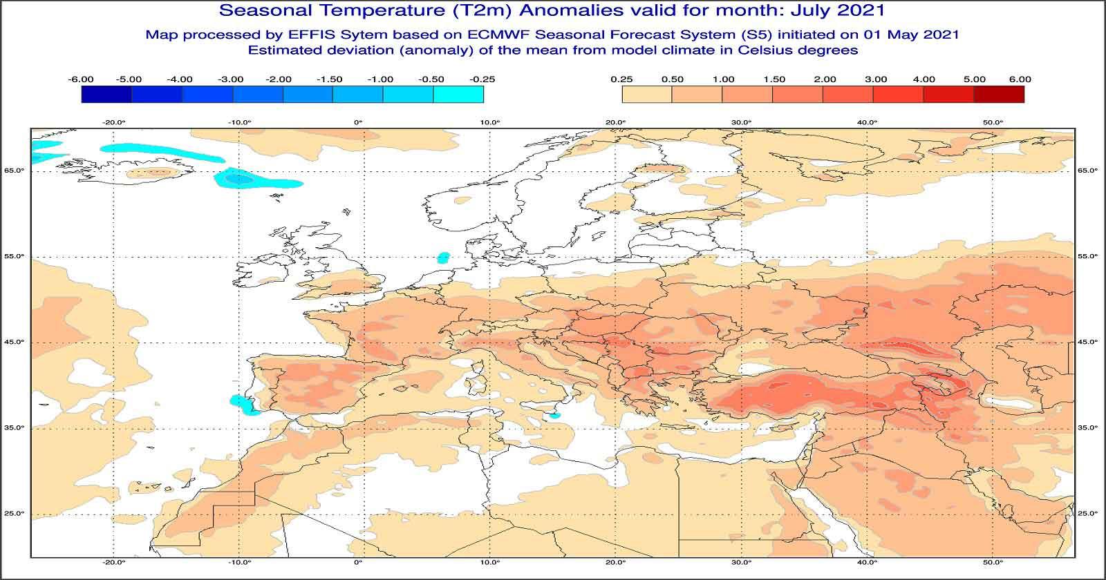 Anomalie di temperatura previste dal modello ECMWF per luglio 2021 - effis.jrc.ec.europa.eu.jpg