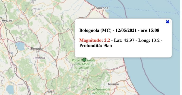 Terremoto nelle Marche oggi, mercoledì 12 maggio 2021: scossa M 2.2 in provincia di Macerata   Dati INGV