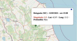 Terremoto nelle Marche oggi, mercoledì 12 maggio 2021: scossa M 2.2 in provincia di Macerata | Dati INGV