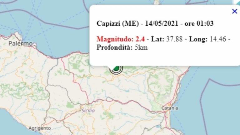 Terremoto in Sicilia oggi, venerdì 14 maggio 2021, scossa M 2.4 in provincia di Messina | Dati Ingv