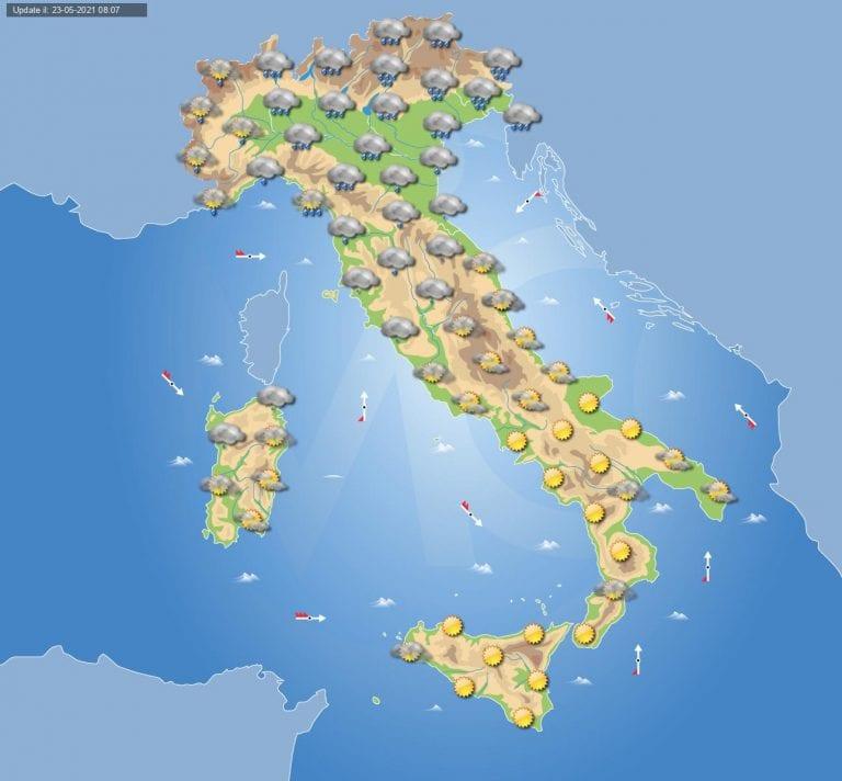 Meteo Italia Cartina.Previsioni Meteo Domani 24 Maggio 2021 Arriva Il Maltempo Su Alcune Regioni D Italia Ma Anche