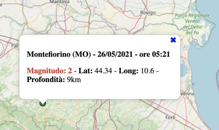 Terremoto in Emilia-Romagna oggi, mercoledì 26 maggio 2021: scossa M 2.0 in provincia di Modena   Dati INGV