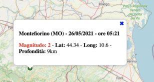 Terremoto in Emilia-Romagna oggi, mercoledì 26 maggio 2021: scossa M 2.0 in provincia di Modena