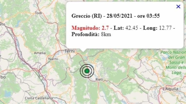 Terremoto oggi, 28 maggio 2021 nel Lazio: scossa di M 2.7 in provincia di Rieti – Dati ufficiali dell'Ingv