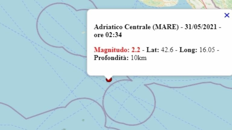 Terremoto in Italia oggi, lunedì 31 maggio 2021, scossa M 2.2 sul mar Adriatico – Dati Ingv