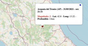 Terremoto nelle Marche oggi, lunedì 31 maggio 2021: scossa M 2.0 in provincia di Ascoli Piceno