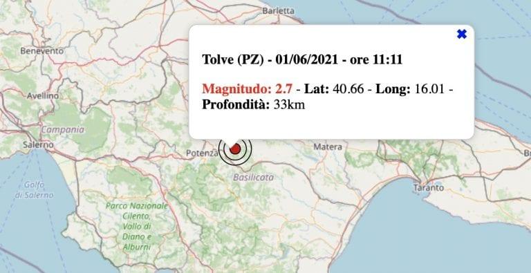 Terremoto in Basilicata oggi, 1 giugno 2021: scossa M 2.7 in provincia di Potenza   Dati INGV