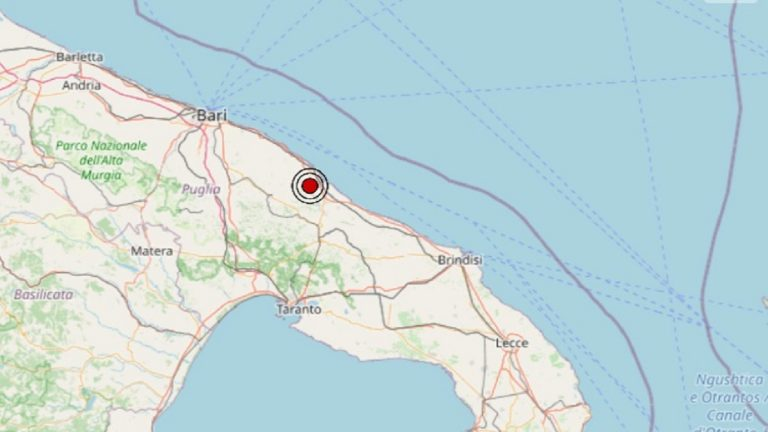 Terremoto in Puglia oggi, martedì 1 giugno 2021: scossa M 2.5 in provincia di Bari   Dati INGV