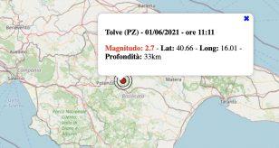 Terremoto in Basilicata oggi, martedì 1 giugno 2021: scossa M 2.7 in provincia di Potenza
