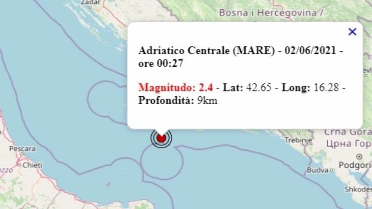 Terremoto in Italia oggi, 2 giugno 2021, scossa M 2.4 sul mar Adriatico – Dati Ingv