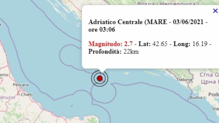 Terremoto in Italia oggi, giovedì 3 giugno 2021, scossa M 2.7 sul mar Adriatico centrale – Dati Ingv