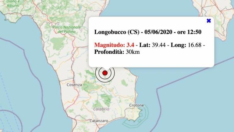 Terremoto in Calabria oggi, sabato 5 giugno 2021: scossa M 3.4 in provincia Cosenza   Dati INGV