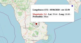 Terremoto in Calabria oggi, sabato 5 giugno 2021: scossa M 3.4 in provincia di Cosenza