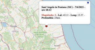 Terremoto nelle Marche oggi, lunedì 7 giugno 2021: scossa M 2.0 in provincia di Macerata