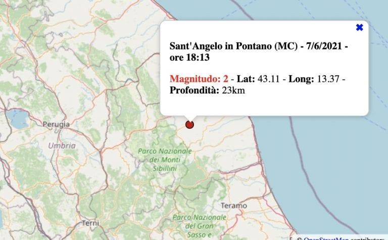 Terremoto nelle Marche oggi, lunedì 7 giugno 2021: scossa M 2.0 in provincia di Macerata   Dati INGV