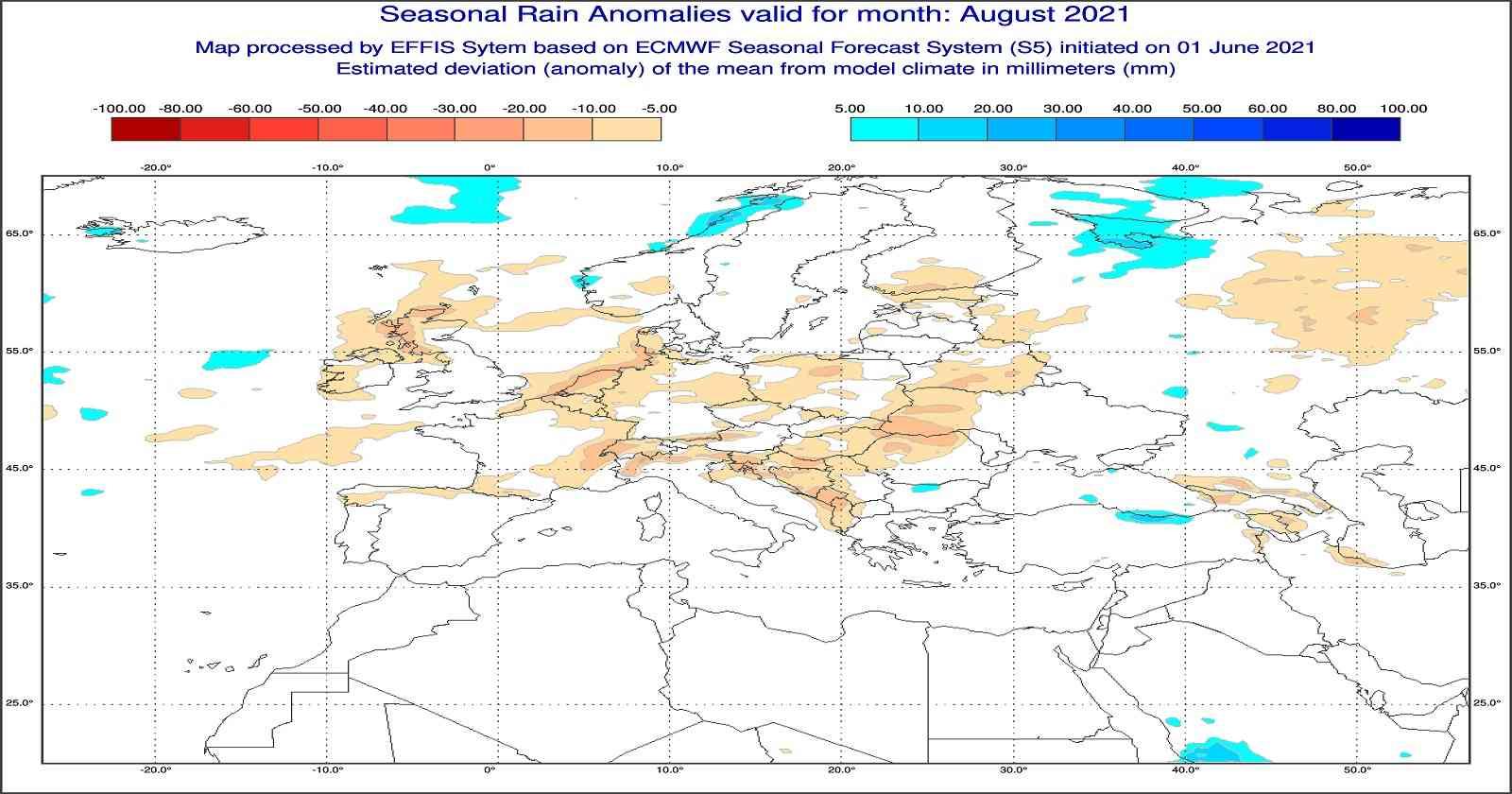 Anomalie di temperatura previste dal modello europeo per agosto 2021 - effis.jrc.ec.europa.eu.eu
