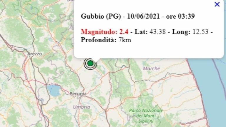 Terremoto in Umbria oggi, 10 giugno 2021, scossa M 2.4 in provincia Gubbio | Dati Ingv